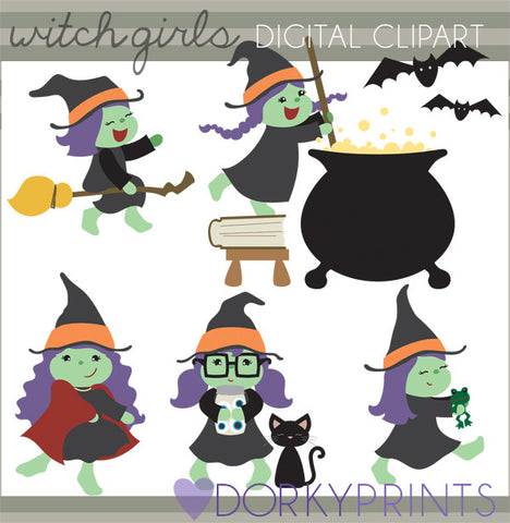 Witch Girls Halloween Clipart