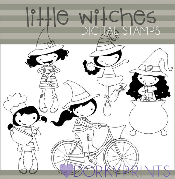 Little Witches Black Line Halloween Clipart