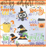 Witchy Words Halloween Clipart