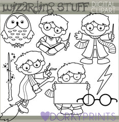 Blackline Magic and Wizard Character Clipart