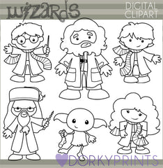 Blackline Wizards Character Clipart