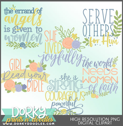 Women of Faith Words and Titles Clipart