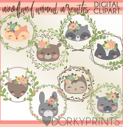Wreaths and Animals Clipart