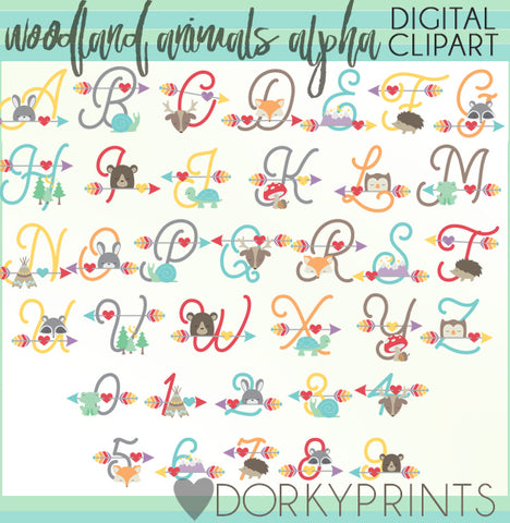 Animals and Arrows Font and Symbols Clipart
