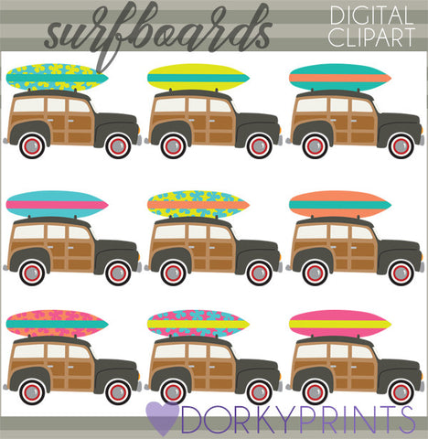 Vinage Surfboards Summer Clipart
