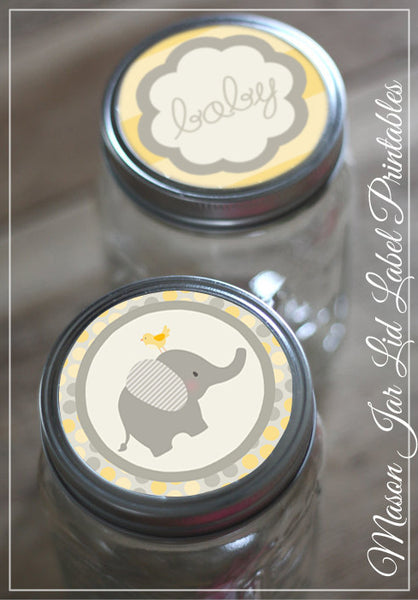 Yellow Elephant Mason Jar Lid Labels Baby Shower Printables