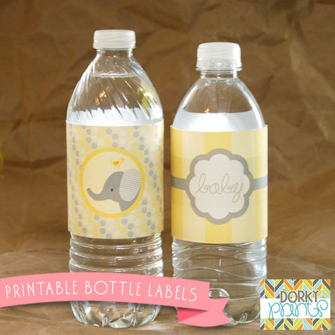 Yellow Elephant Water Bottle Labels Baby Shower Printables