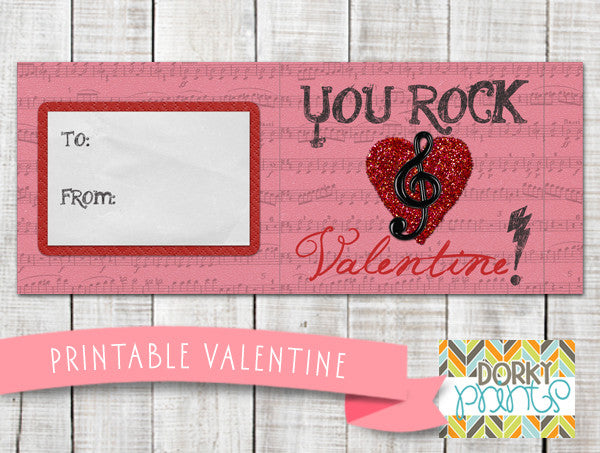"""You Rock"" Valentine Label Holiday Printables"