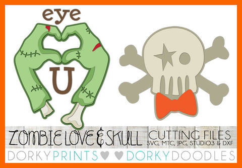 Zombie and Skull Halloween SVG Cuttable Files