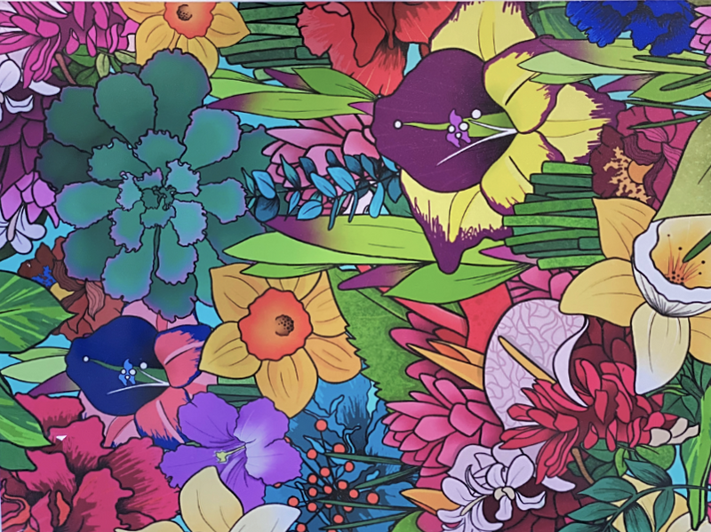 1000 piece full bloom jigsaw puzzle designed by Queensland artist Kasey Rainbow