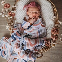 rainbow silver and blush baby muslin swaddle wrap