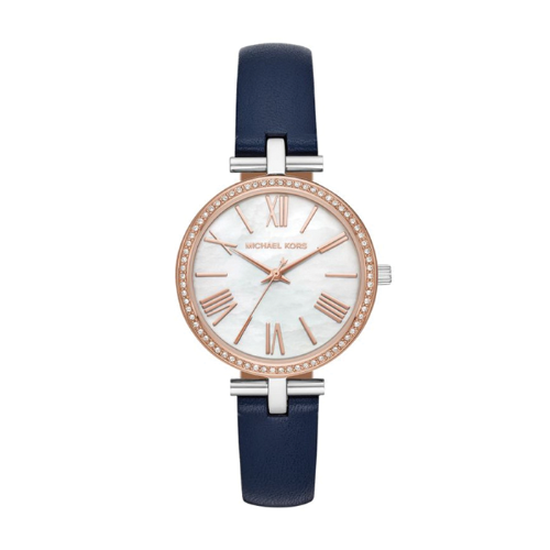 Michael Kors Ladies Maci Two Tone Mother Of Pearl Crystal Set Dial Blue Leather Strap Watch - MK2833