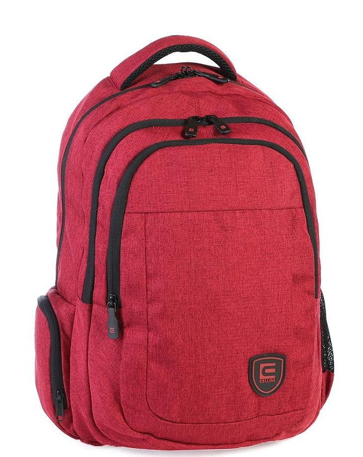 Cellini King Multi-Pocket College Backpack - Cardinal Red