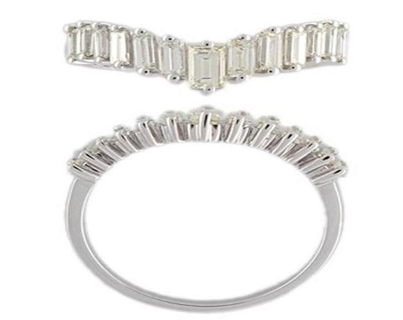 18ct white gold Vertical step baguette dress ring