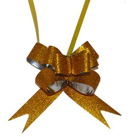 Pull bows 37.7 x 1.8cm Gold pack of 10