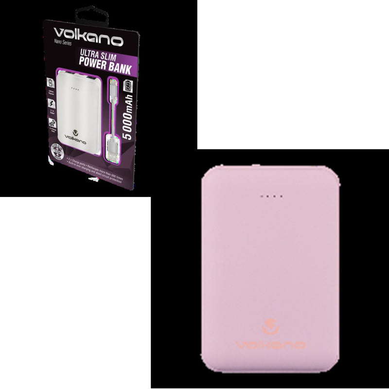 Ultra Slim 5000 MAH Powerbank with built in overcharge protection Pink