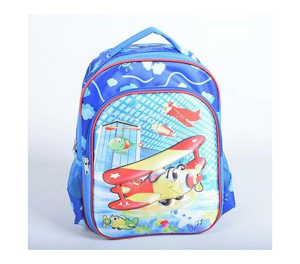 40cm Eva Kiddies School Backpacks 3D Blue poka dots with aeroplane and clouds