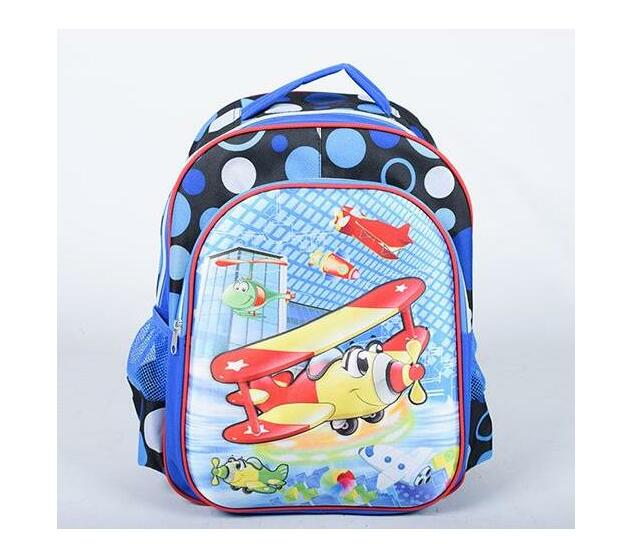 40cm Eva Kiddies School Backpacks 3D Blue poka dots with aeroplane