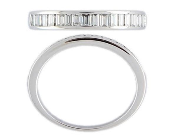 18ct white gold Baguette channel set eternity band.