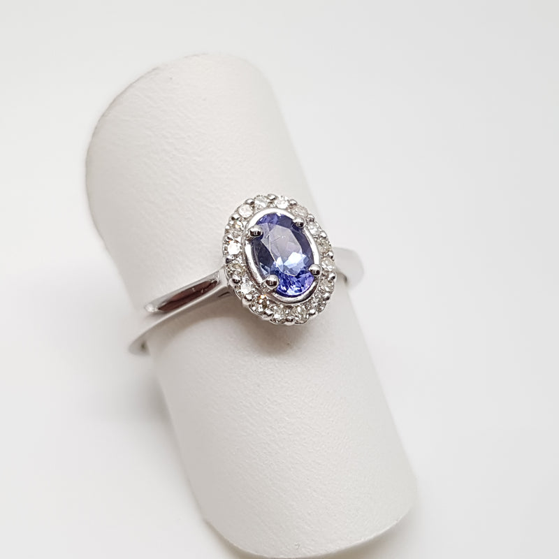 Tanzanite and Diamond Oval ring
