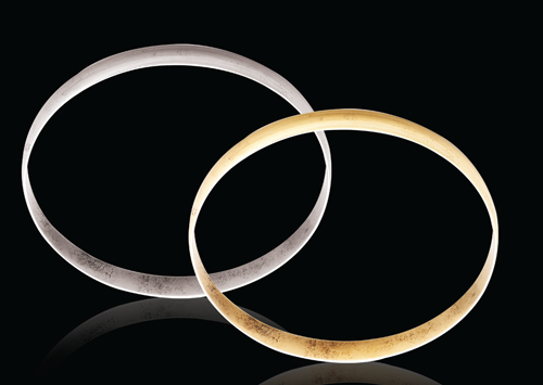 9ct White gold D-Shape 6mm Gold bangles 10.00g