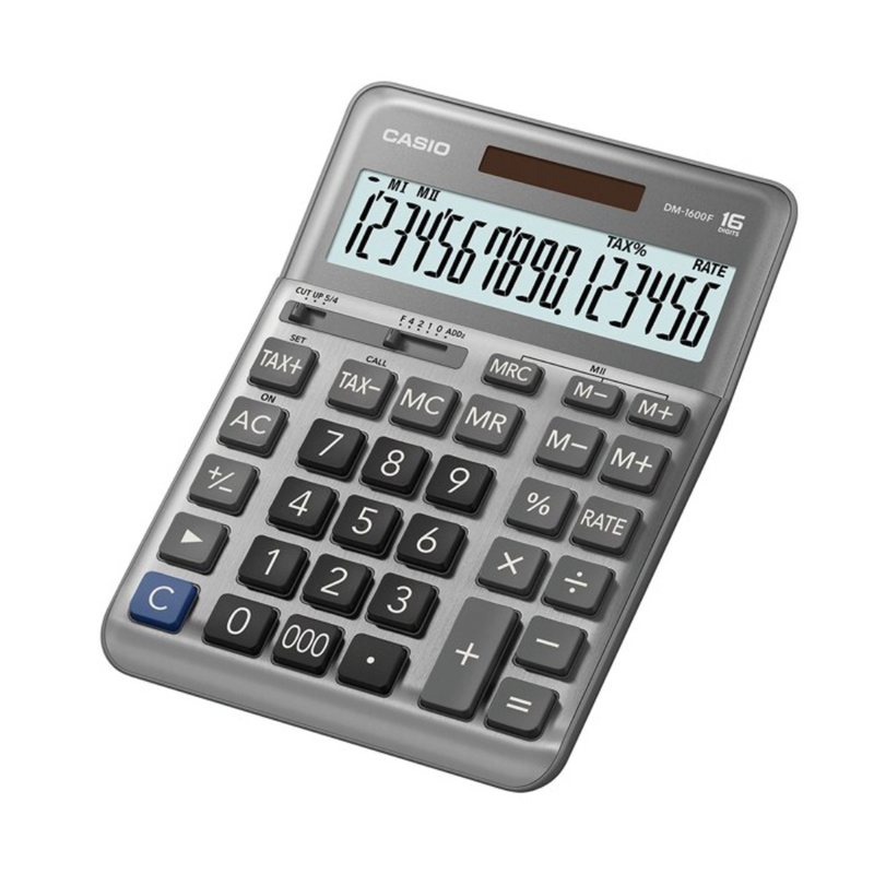 Casio desktop type 16 digits calculator, Silver