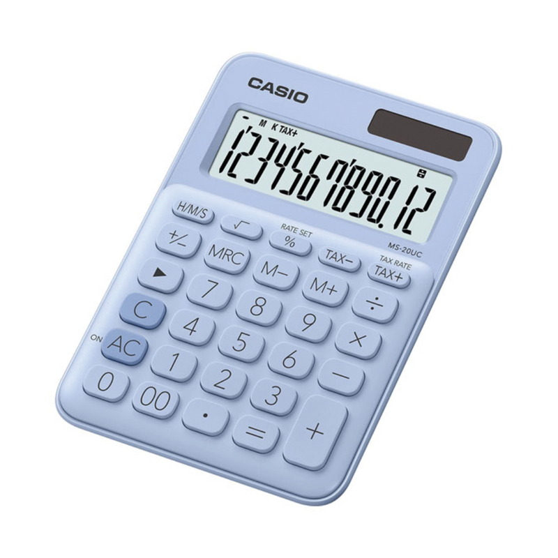 Casio mini desk type 12 digits calculator, Light Blue