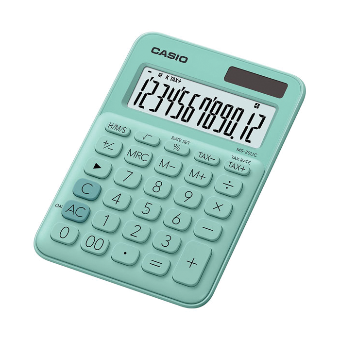 Casio mini desk type 12 digits calculator, Green