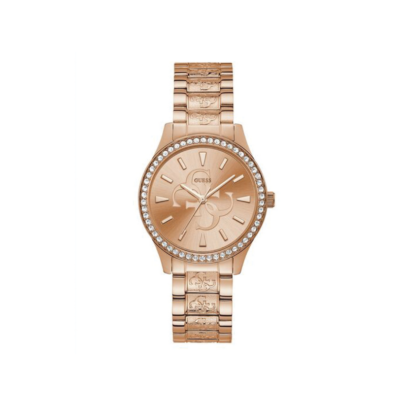 GUESS ROSE GOLD TONE CASE ROSE GOLD TONE STAINLESS STEEL WATCH