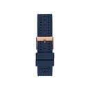 GUESS ROSE GOLD TONE CASE BLUE SILICONE WATCH