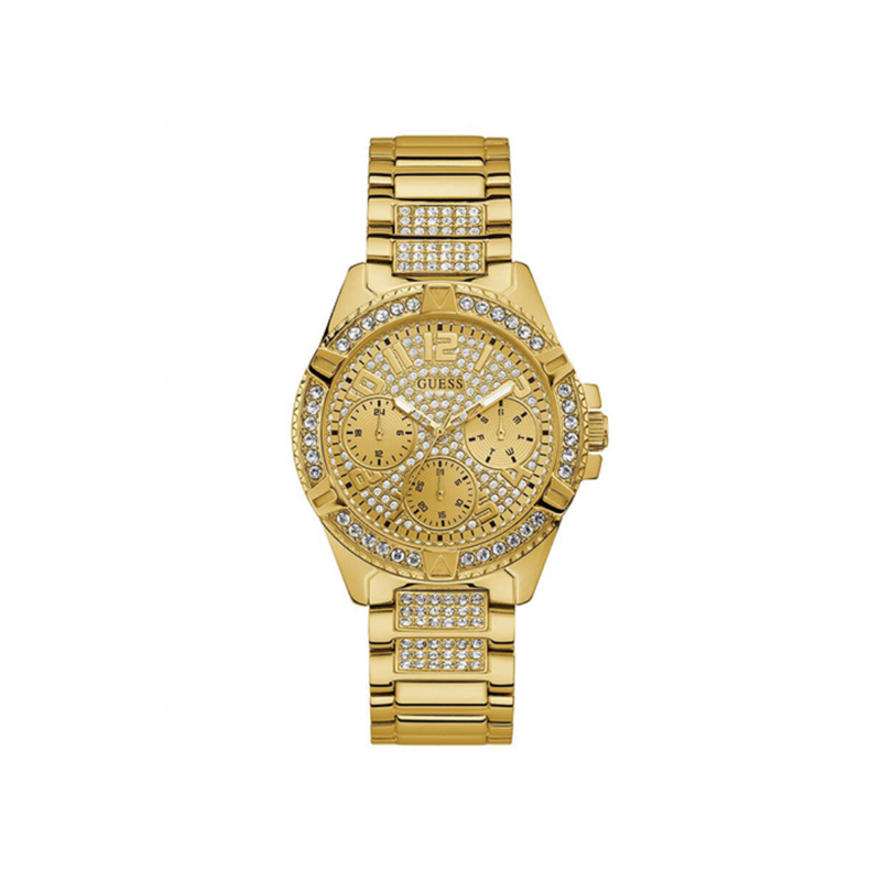GUESS GOLD TONE CASE GOLD TONE STAINLESS STEEL WATCH