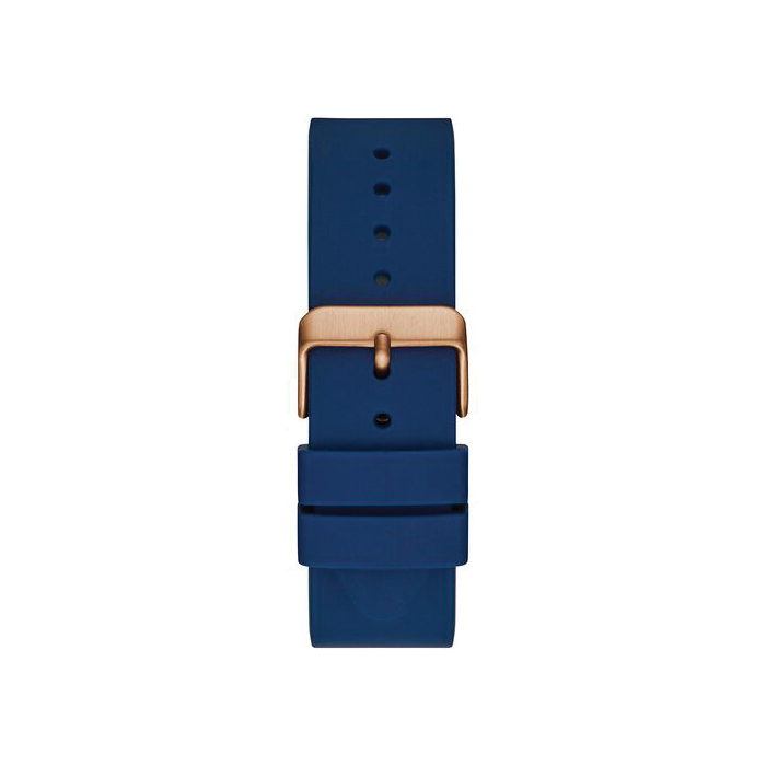 GUESS ROSE GOLD TONE/BLUE CASE BLUE SILICONE WATCH