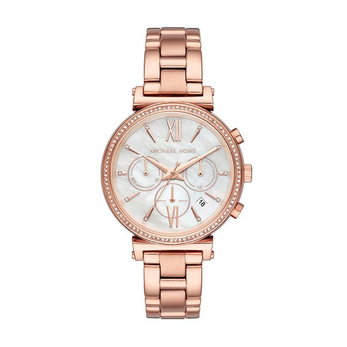 Michael Kors Sofie Chronograph Crystal Mother of Peal Dial Ladies Watch - MK6576