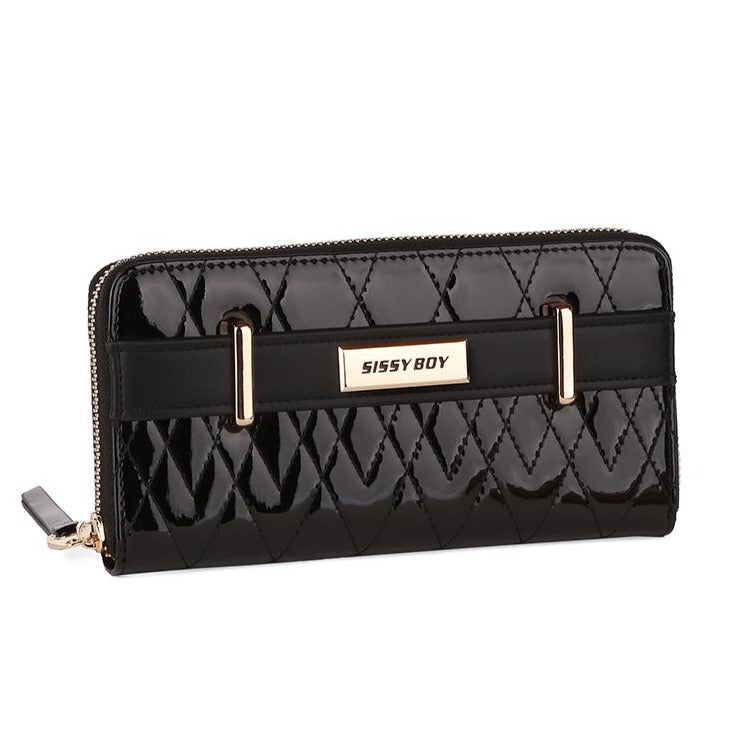 Sissy Boy Cindy quilted patent zip around purse - Black