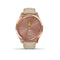 Garmin vívomove® Luxe 18K Rose Gold PVD Stainless Steel Case with Light Sand Italian Leather Band