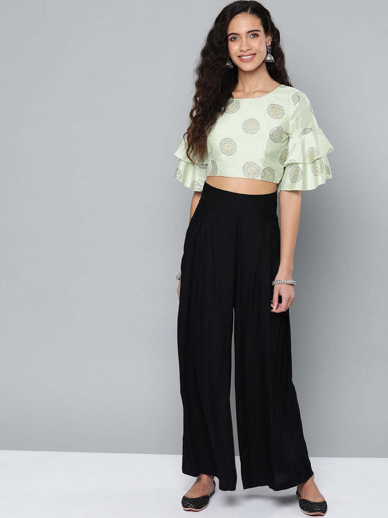 Crop Top With Plazzo