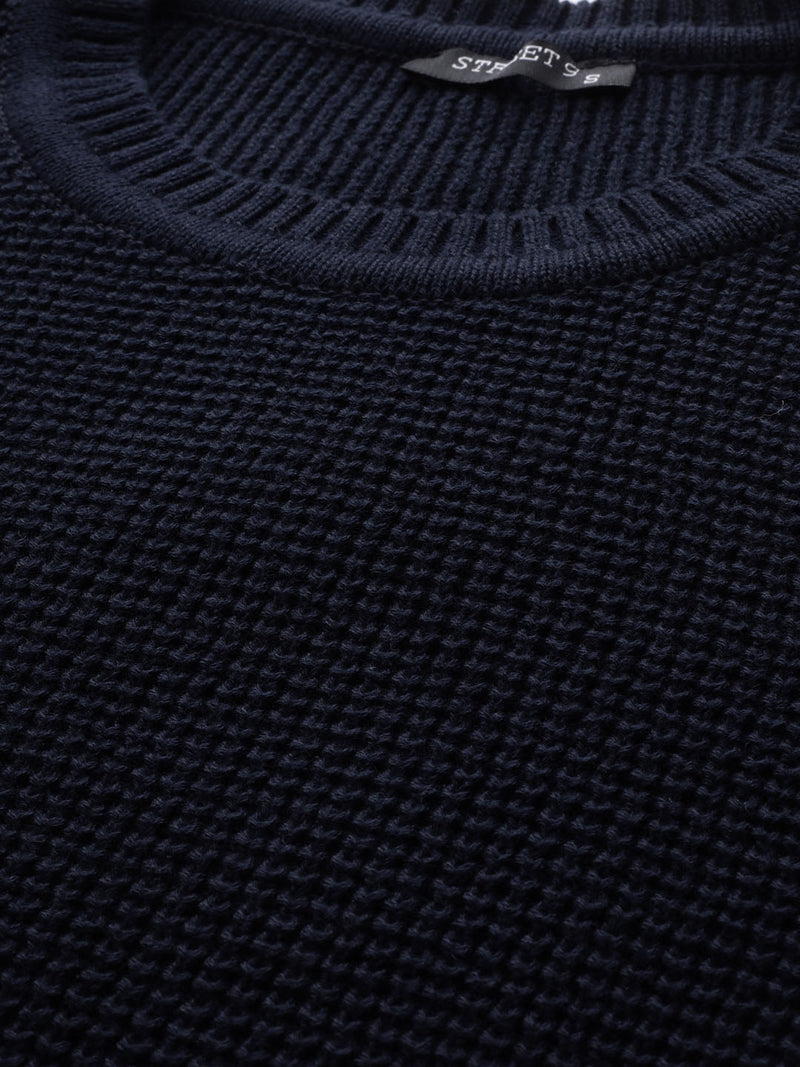 Navy Blue Solid Sweater