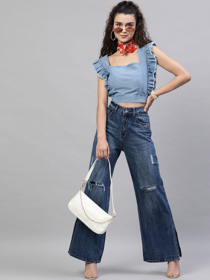 Flared Slash Knee Jeans