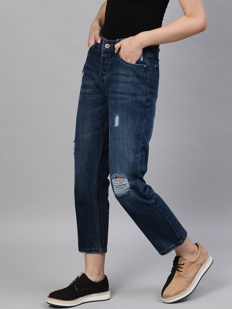 Straight Fit Mid-Rise Distressed Jeans