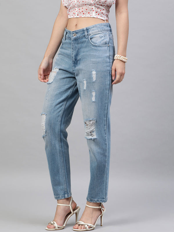 Relaxed Fit Mid-Rise Distressed Jeans