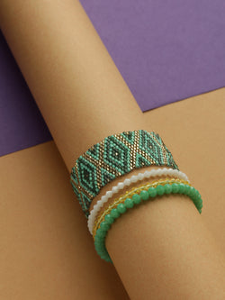 Green Diamond Beaded Bracelet
