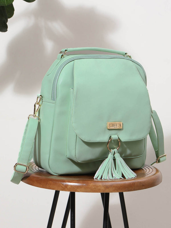 Green Solid Backpack