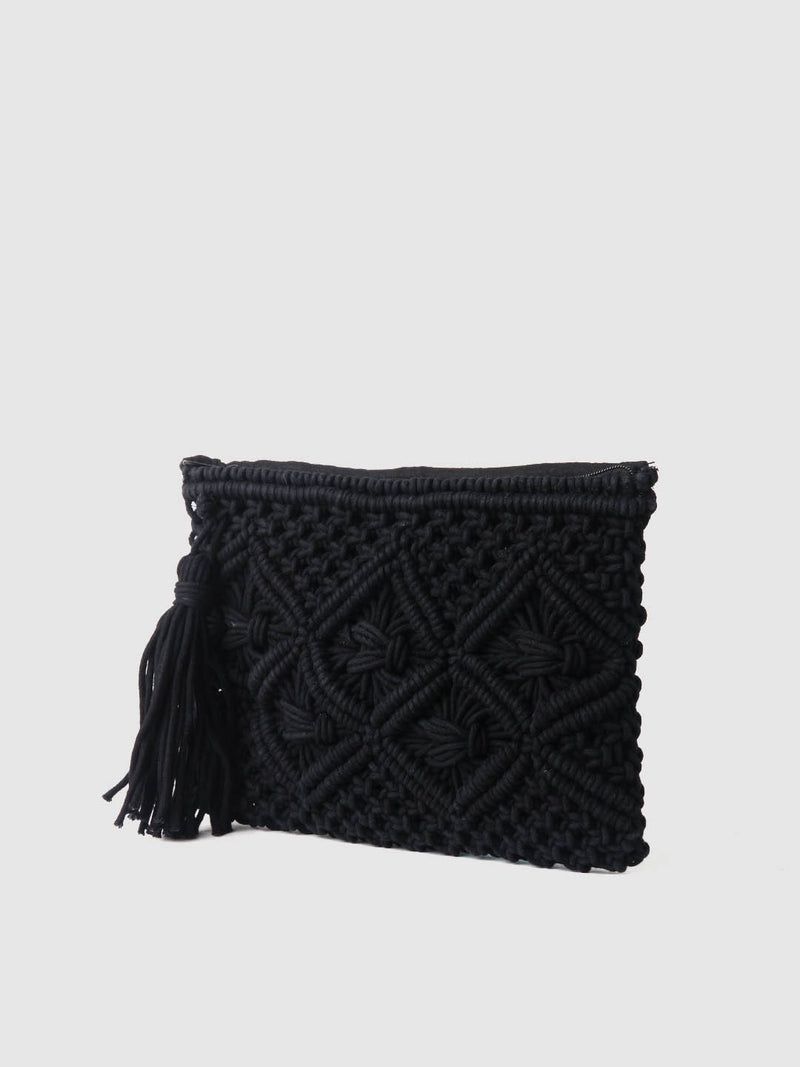 Black Crochet Zip Top Clutch