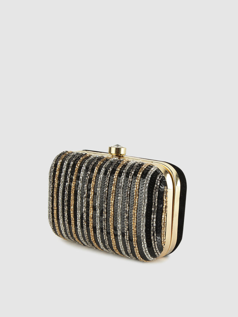 Beaded Stripe Box Pouch
