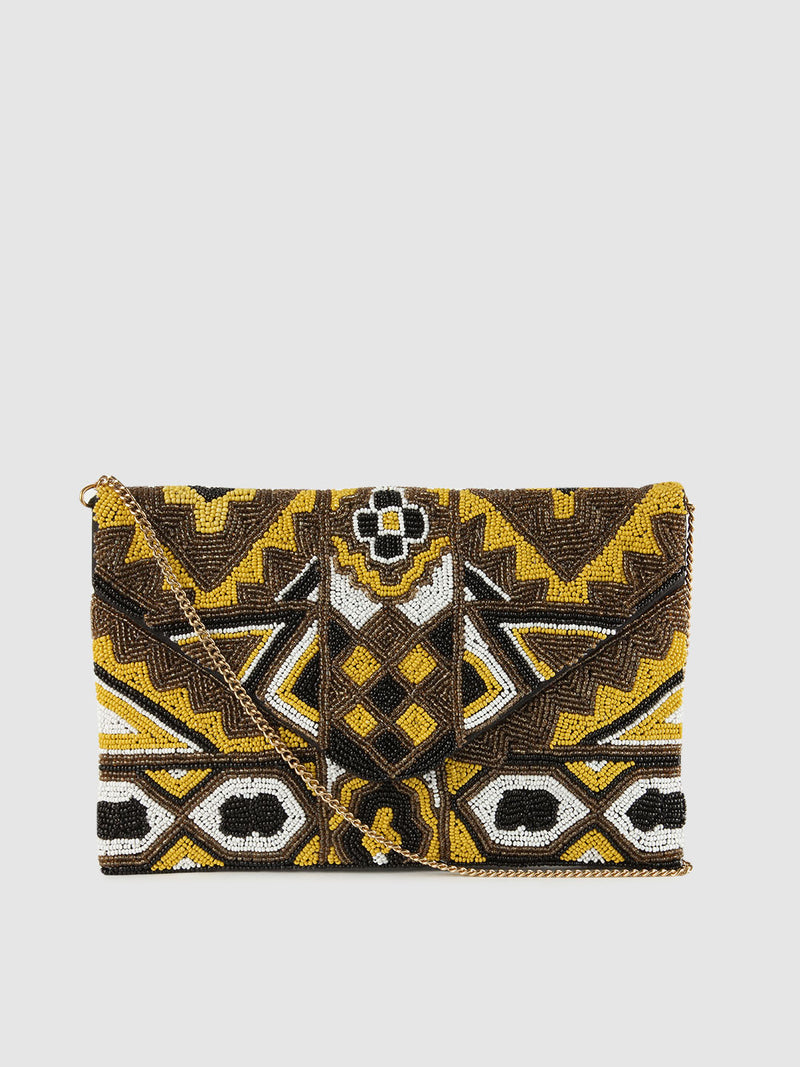 Beaded Yellow Clutch
