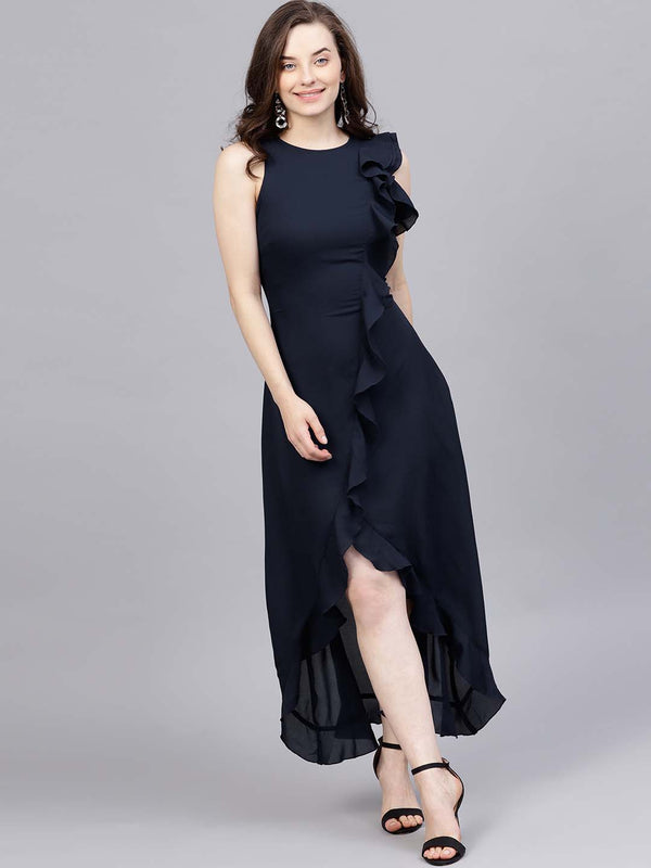 Ruffle Asymmetric Maxi Dress