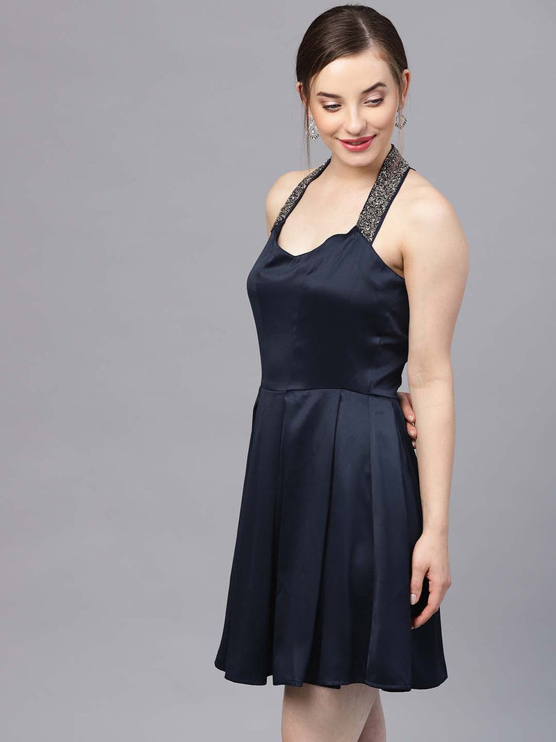 Halter Neck Satin Dress