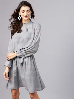 Ruffle Neck Check Dress