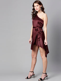 One Shoulder Satin Dress