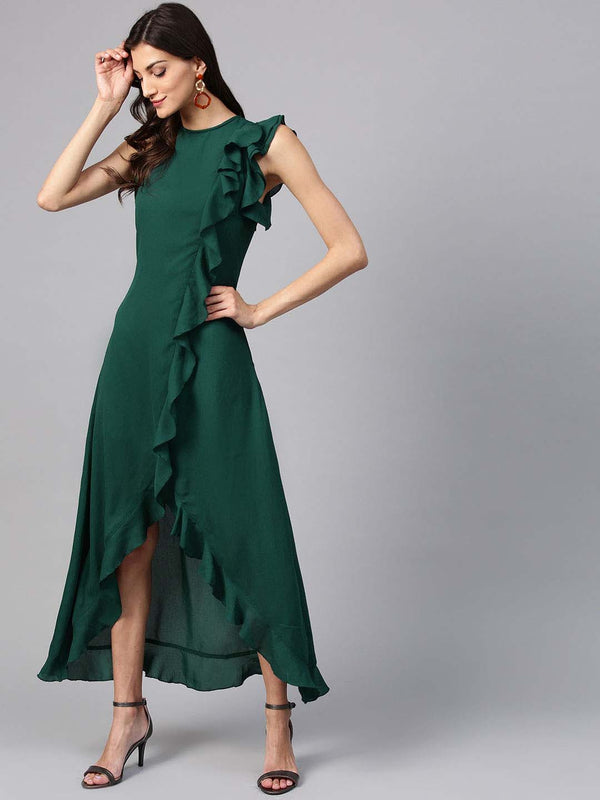 Ruffle Asymmetric Dress